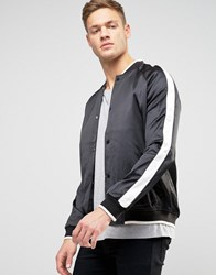 New Look Sateen Bomber Jacket In Black With Contrast Sleeve Black