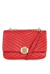 Topshop Quilted Crossbody Bag Red
