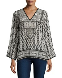 Tolani Monisha Border Detail Silk Tunic Black Ikat Women's