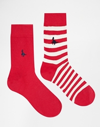 Jack Wills 2 Pack Ankle Sock Claretdot