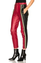 Chloe Leather And Nubuck Biker Pants In Red