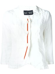 Armani Jeans Orange Embroidered Placket Blouse White
