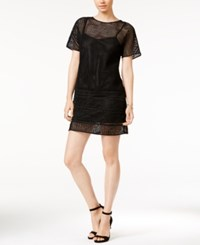 Armani Exchange Mesh Detail Shift Dress Solid Black
