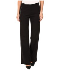 Hue Leatherette Trim Luxe Ponte Pants Black Women's Casual Pants
