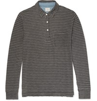 Faherty Striped Cotton Jersey Polo Shirt Gray