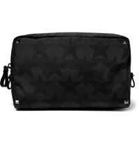 Valentino Leather Trimmed Star Print Shell Wash Bag Black
