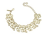 Oscar De La Renta Textured Chain Link Choker With Small Taffeta Bow Necklace Gold Black