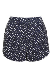 Topshop Animal Smudge Shorts Navy Blue