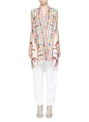 Chloe Ethnic Embrodiered Silk Blend Linen Tunic Multi Colour