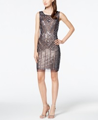 Adrianna Papell Beaded Sequin Sheath Dress