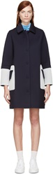 Mother Of Pearl Navy And White Mesh Trimmed Cocoon Coat