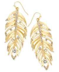 Thalia Sodi Gold Tone Crystal Feather Earrings Only At Macy's