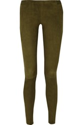 Alice Olivia Suede Leggings Army Green