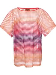 Missoni Sheer Chevron Pattern T Shirt Pink And Purple