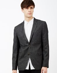 The Idle Man Tweed Blazer In Slim Fit Black