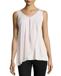 Neiman Marcus Georgette Draped Sleeveless Blouse Blush