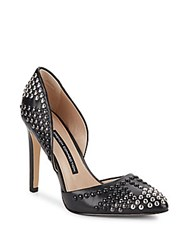 French Connection Maggie Studded Leather D'orsay Pumps Black