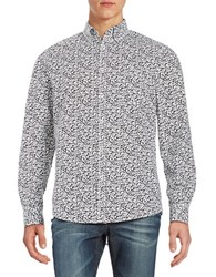 Black Brown Floral Print Laundered Sportshirt Black