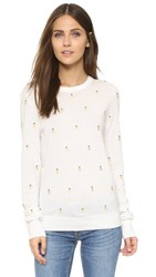 Equipment Shane Pineapple Embroidered Crew Sweater Ivory Multi