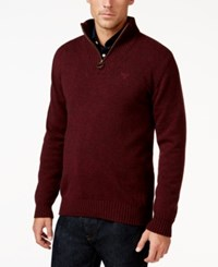 Barbour Half Zip Mock Collar Wool Sweater Merlot Mix