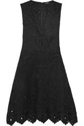 Theory Jemion Broderie Anglaise Linen And Cotton Blend Dress Black