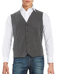 Black Brown Knit Cotton Blend Vest Cobblestone