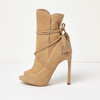 River Island Womens Nude Suede Wrap Around Peep Toe Boots