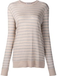 Alexander Wang T By Striped Sheer T Shirt Nude And Neutrals