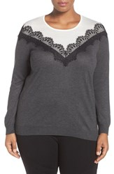 Vince Camuto Plus Size Women's Lace Trim Colorblock Sweater