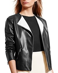 Ralph Lauren Two Tone Leather Jacket Black Artist Cream