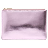 Whistles Small Metallic Clutch Bag Pale Pink