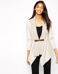 Lipsy Plait Front Cardigan With Buckle Detail Cream