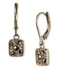 Judith Jack Sterling Silver And Marcasite Square Drop Earrings Gold