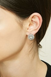 Forever 21 Rhinestone Studs Silver Clear