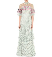 Peter Pilotto Embroidered Silk Chiffon Gown White