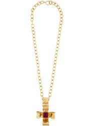 Chanel Vintage Cross Pendant Chain Necklace Yellow Orange