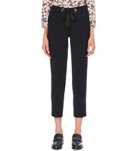 Claudie Pierlot Petra Skinny Cropped Woven Trousers Navy
