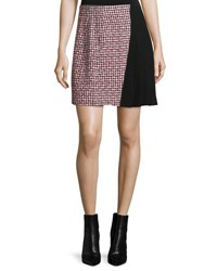 Thierry Mugler Houndstooth Combo Mini Skirt Red Black White Red Blk Wht