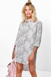 Boohoo Snake Print Shirt Dress White