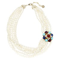 Ben Amun Byzantine Pearl Multi Strand Necklace Gold