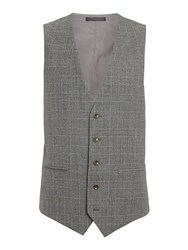 Corsivo Atillio Prince Of Wales Check Suit Waistcoat Brown