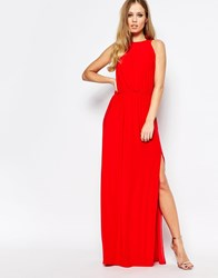 Love High Neck Cowl Back Draped Maxi Dress Summer Red