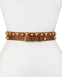 Haute Hippie Long And Winding Road Belt With Longhorn And Round Studs Cognac Gold Red Gold