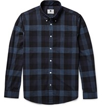 Nn.07 Nn07 Falk 5833 Sli Fit Checked Brushed Cotton Flannel Shirt Stor Blue Storm Blue