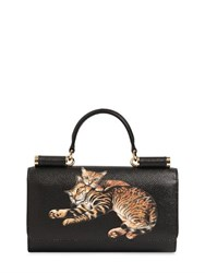 Dolce And Gabbana Cats Print Dauphine Leather Phone Clutch