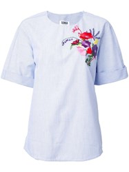 Sonia Rykiel By Floral Embroidery T Shirt Blue