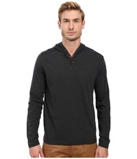 Lucky Brand Two Button Henley With Hood Jet Black Men's Clothing