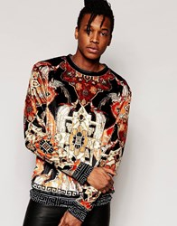 Jaded London Velvet Sweatshirt With All Over Tapestry Print Black