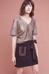 Anthropologie Wool Eyelet Mini Skirt Dark Grey