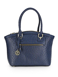 London Fog Knightsbird Ostrich Embossed Faux Leather Tote Navy